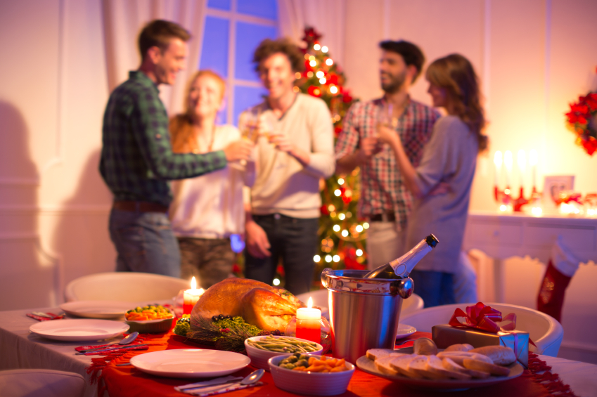 Group of guests celebrating the holidays