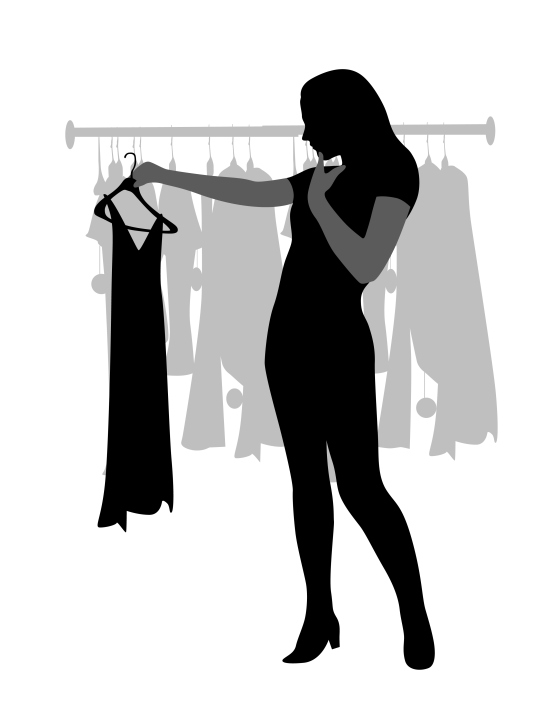Illustration depicting a woman studying a dress on a hanger, deciding whether it is appropriate to wear to a party
